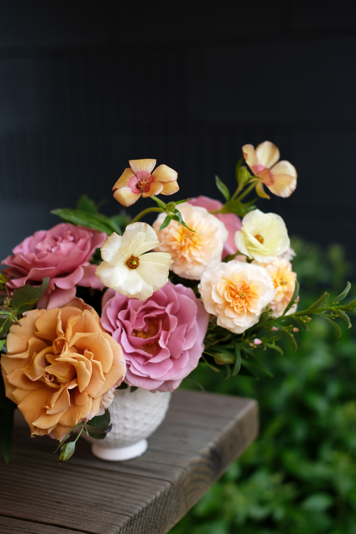 A lush arrangement featuring local and homegrown garden roses, by Tabitha Abercrombie of Winston & Main.