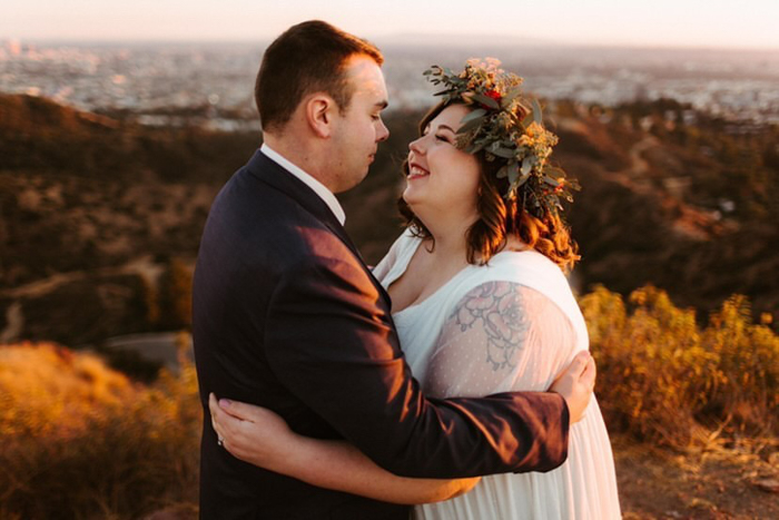 A beautiful elopement in Los Angeles, featuring a flower crown by Winston & Main, and photography by The Hendrys.