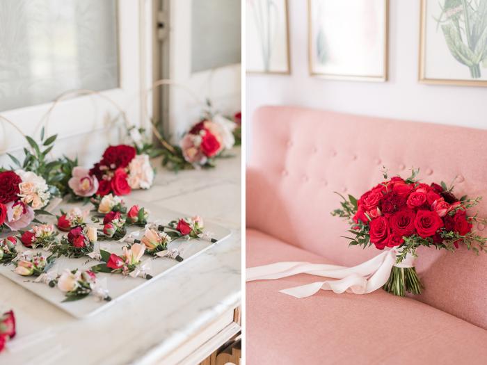 Red wedding details from Winston & Main, Malibu, California